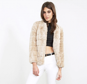 Forever 21 Collarless Faux Fur Coat